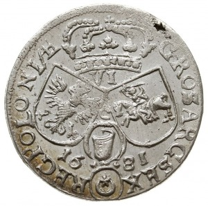 szóstak 1681, Kraków, popiersie w zbroi, litera C pomię...
