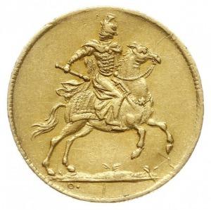 dukat koronacyjny 1697, Drezno, Aw: Król na koniu, Rw: ...
