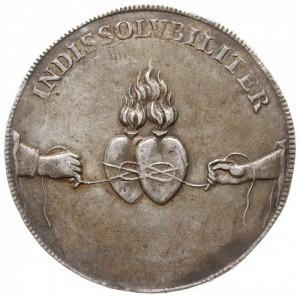 talar zaślubinowy 1719, Drezno, Aw: Napis okolicznościo...