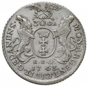 30 groszy (złotówka) 1763, Gdańsk, mały wieniec nad her...