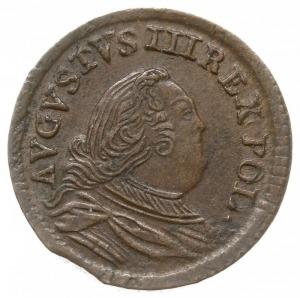 szeląg miedziany 1754/H, Gubin, pod tarczami herbowymi ...