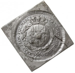 klipa próbnego talara 1765, wybita pękniętym stemplem w...