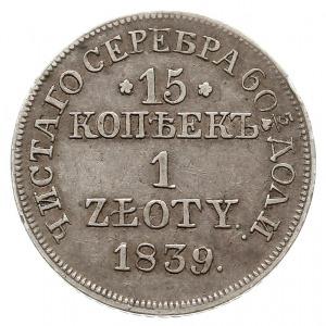 15 kopiejek = 1 złoty 1839, Warszawa, odmiana z kropką ...