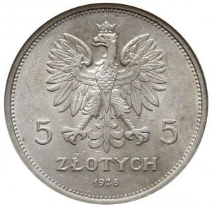 """5 złotych 1928, Warszawa, """"Nike"""", Parchimowicz 114.a, m..."""