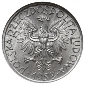 """5 złotych 1958, Warszawa, """"Rybak"""", odmiana z wąską cyfr..."""