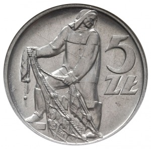 """5 złotych 1958, Warszawa, """"Rybak"""", odmiana z szeroką cy..."""