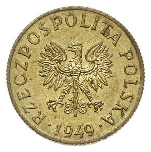 2 grosze 1949, Warszawa, na rewersie wklęsły napis PRÓB...
