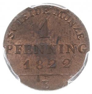 1 fenig 1822 B, Wrocław, AKS 35, moneta w pudełku PCGS ...