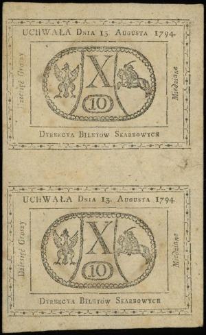 2 x 10 groszy miedziane 13.08.1794, dwie sztuki nierozc...
