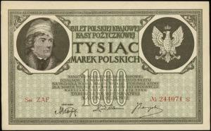 """1.000 marek polskich 17.05.1919, znak wodny """"orły i lit..."""