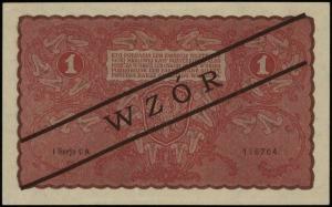 1 marka polska 23.08.1919, czarny ukośny nadruk WZÓR, s...