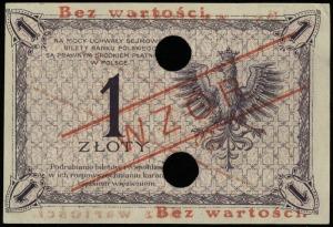 1 złoty 28.02.1919, czerwony nadruk Bez wartości / WZÓR...
