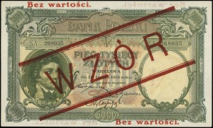 5.000 złotych 28.02.1919, czerwony nadruk Bez wartości ...