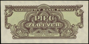 5 złotych 1944, w klauzuli OBOWIĄZKOWE, seria aE, numer...