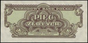 5 złotych 1944, w klauzuli OBOWIĄZKOWE, seria аМ, numer...