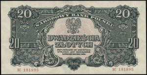 20 złotych 1944, w klauzuli OBOWIĄZKOWE, seria ХС, nume...