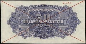 50 złotych 1944, w klauzuli OBOWIĄZKOWE, czerwone dwukr...