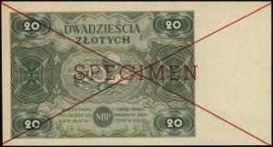 20 złotych 15.07.1947, czerwone dwukrotne przekreślenie...