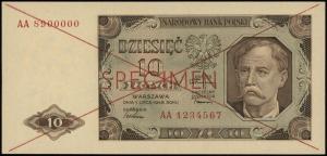 10 złotych 1.07.1948, czerwone dwukrotne przekreślenie ...