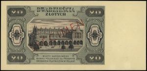 20 złotych 1.07.1948, czerwony ukośny nadruk SPECIMEN n...