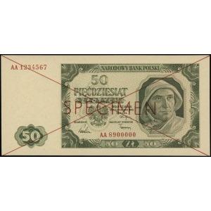 50 złotych 1.07.1948, czerwone dwukrotne przekreślenie ...