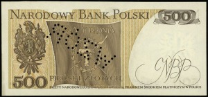 500 złotych 16.12.1974, ukośna perforacja WZÓR, seria R...