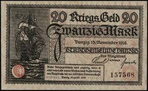 Kriegs-Geld, 20 marek 15.11.1918, numeracja 157568, Jab...