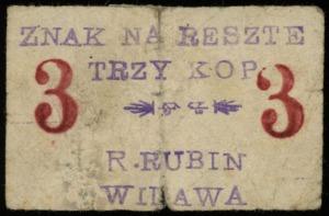"""R. Rubin, znaki """"na resztę"""" 3, 10, 15 i 25 kopiejek, be..."""
