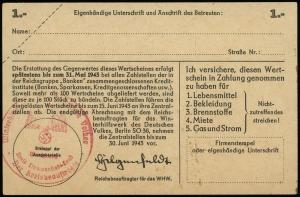 1 marka 1942 / 1943, seria F, numeracja 7901898, na str...
