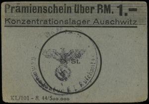 Konzentrationslager Auschwitz, bon na 1 markę, Lucow 88...