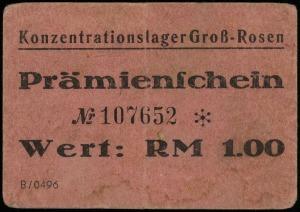 Konzentrationslager Groß-Rosen, bon na 1 markę, numerac...