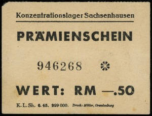 Konzentrationslager Sachsenhausen, bon 0.50 marki, nume...