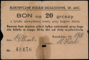 Warszawa, Elektryczne Koleje Dojazdowe Sp. Akc., bon na...