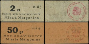 Margonin, Miasto, zestaw bonów: 50 groszy i 2 złote (19...