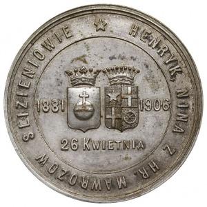 medal na pamiątkę srebrnego wesela, 1906 r., Aw: Dwie t...