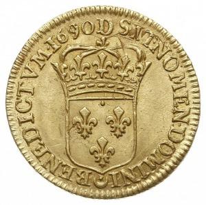louis d'or typu a l'ecu 1690 D, Lyon, Droulers 405, D...