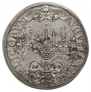talar 1642, Aw: Panorama miasta, AVGVSTA VIN DELICORVM ...