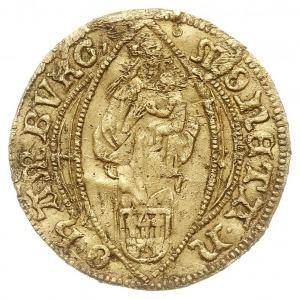 dukat 1497, Aw: Matka Boska z dzieciątkiem nad herbem m...