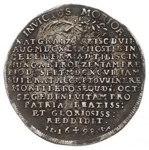 talar pośmiertny 1698, Aw: Popiersie w prawo, HENRICUS ...