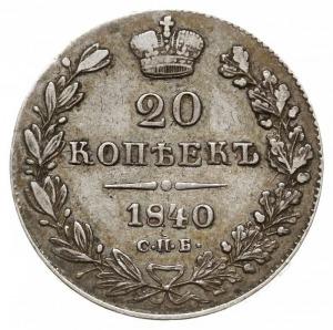 20 kopiejek 1840 СПБ НГ, Petersburg, Bitkin 322, Adrian...