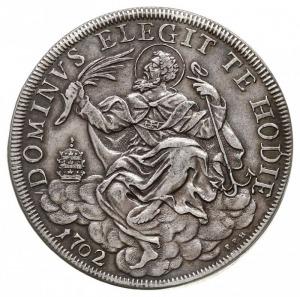 piastra 1702, Aw: Popiersie papieża w lewo, Rw: Św. Kle...
