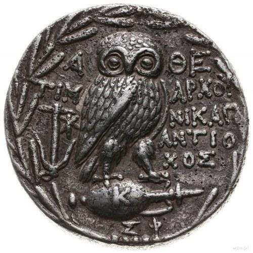 tetradrachma, 166-42 pne; Aw: Głowa Ateny w hełmie ateń...