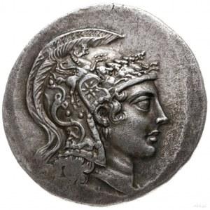 tetradrachma, II w. pne; Aw: Głowa Ateny w hełmie attyc...
