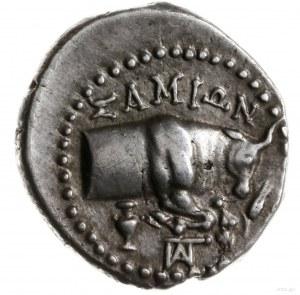 drachma, 205-129 pne; Aw: Głowa lwa na wprost w obwódce...