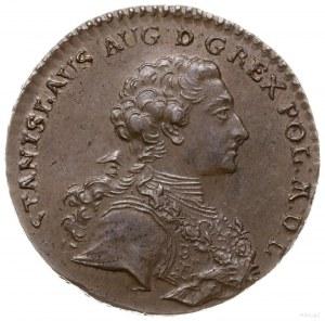 trojak 1765, Kraków; Aw: Popiersie króla w zbroi w praw...