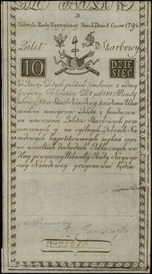 10 złotych 8.06.1794, seria D, numeracja 32216, podpisy...