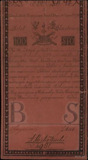 100 złotych polskich 8.06.1794, seria A, numeracja 4981...