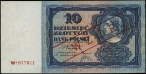 10 złotych 2.01.1928, seria W*, numeracja 977011, obust...