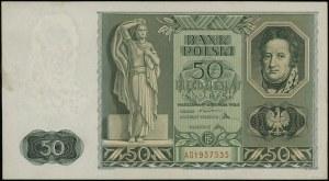 50 złotych 11.11.1936, seria AD, numeracja 1957535; Luc...