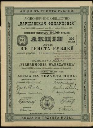 Towarzystwo Akcyjne Filharmonia Warszawska; akcja na ok...